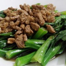 菜心炒瘦肉的做法