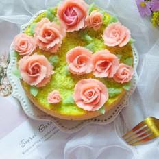 菠菜豆沙裱花蛋糕