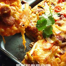黑椒肠蘑菇披萨