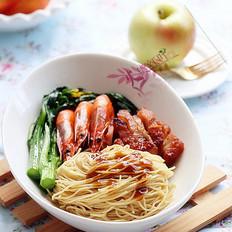 叉烧鲜虾蚝油捞面