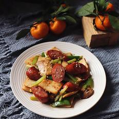 牛肉肠炒杏鲍菇