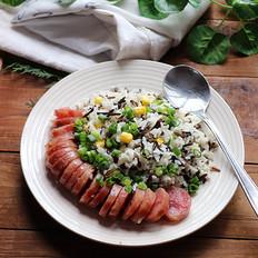 腊肠野米杂粮饭