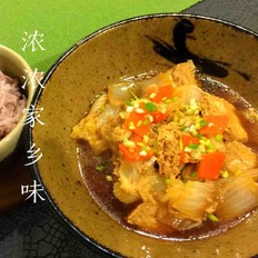 小白菜炖冻豆腐