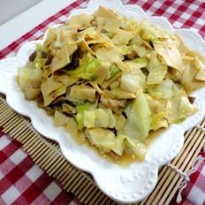干豆腐炒圆白菜肉片