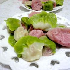 菠菜火龙果汁双色饺子