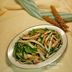 韭菜鲍菇炒鱿鱼