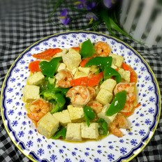 虾仁滑炒豆腐