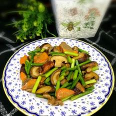 蒜苔香菇炒烤鸭肉