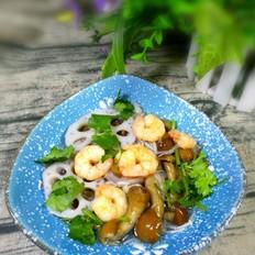 滑子菇藕片虾仁汤