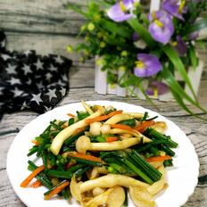 韭菜苔炒白玉菇