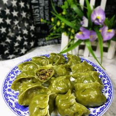 牛肉茴香馅绿色饺子