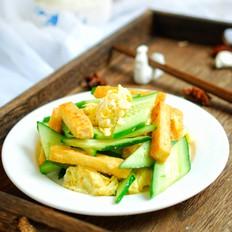 黄瓜鸡蛋炒豆腐,一道简单的素菜,清淡爽口不上火