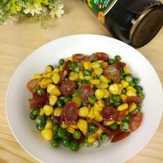 玉米豌豆炒腊肠