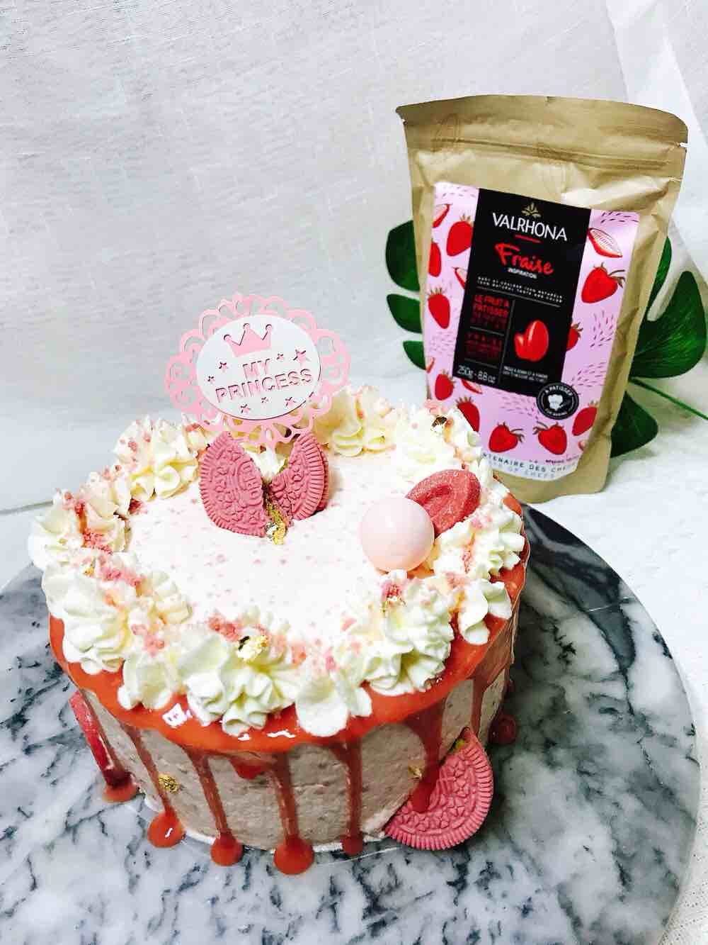 少女心爆棚的草莓巧克力淋面蛋糕