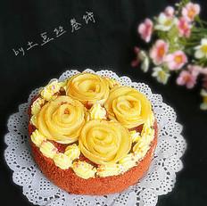 红丝绒苹果玫瑰蛋糕