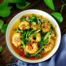 大虾炒苦菊