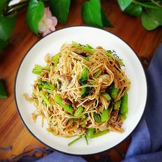 羊肉金针菇炒芹菜