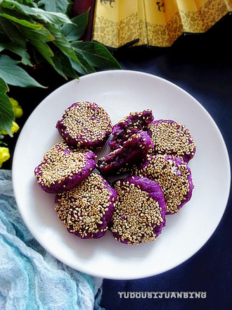 紫薯枣泥芝麻饼的做法