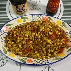 炒黃豆芽加上它好吃的舔盤