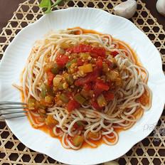 西红柿茄丁凉面