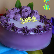 紫色浪漫生日蛋糕