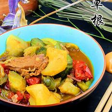 红烧肉炖杂蔬菜