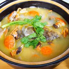 小蟹鱼头菌菇汤