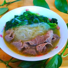 鸡汁粉丝牛肉菠菜汤