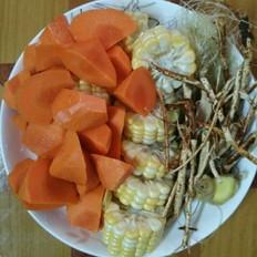红萝卜玉米五指毛桃鸡汤