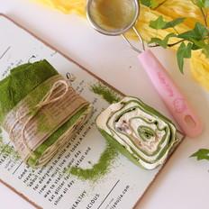 抹茶红豆毛巾卷
