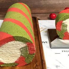 圣诞双色瑞士卷蛋糕,浓浓圣诞气息的美味。