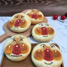 日式红豆面包超人,制作简单不需模具。