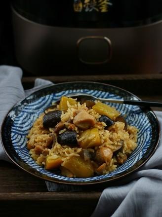 南瓜香菇鸡腿焖饭的做法