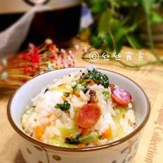 香肠菌菇菜饭