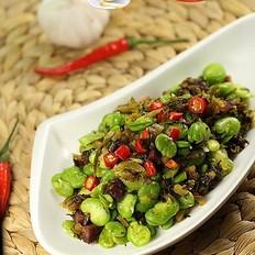 香肠雪菜炒蚕豆米