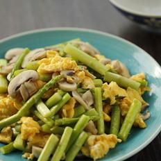 芦笋口蘑炒鸡蛋