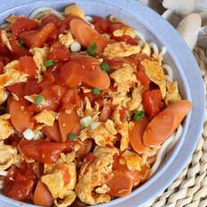 番茄火腿鸡蛋盖浇面