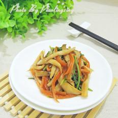 香菜胡萝卜炒杏鲍菇