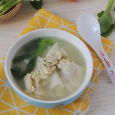 青菜鸡蛋面片汤(饺子皮版)