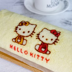 彩绘kitty蛋糕卷#美的电烤箱#的做法