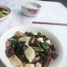 【猪血豆腐烩韭菜】
