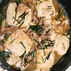 韭菜肉丝煎豆腐