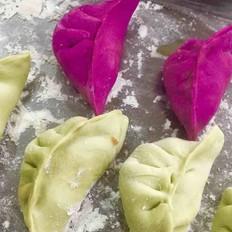 香菜牛肉彩色饺子