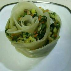 玫瑰蒸饺(蔬菜虾仁馅)