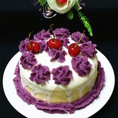 紫薯裱花酸奶蛋糕