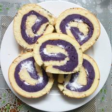 千叶纹紫薯奶油蛋糕卷