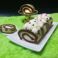 可可花奶油蛋糕卷