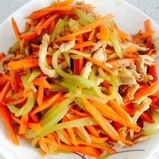 胡萝卜莴笋炒瘦肉