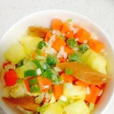 豌豆胡萝卜火腿菠萝炒饭