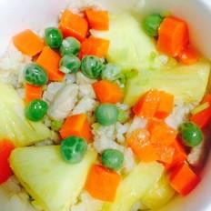 鸡肉胡萝卜豌豆菠萝炒饭